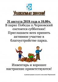 31 августа 2018 года в 10.00 ч. в парке Победы п.Черновский состоится субботник.