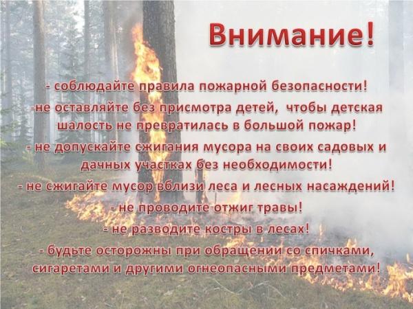 Памятки для населения. Пожароопасный период!