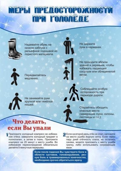 Меры предосторожности при гололёде