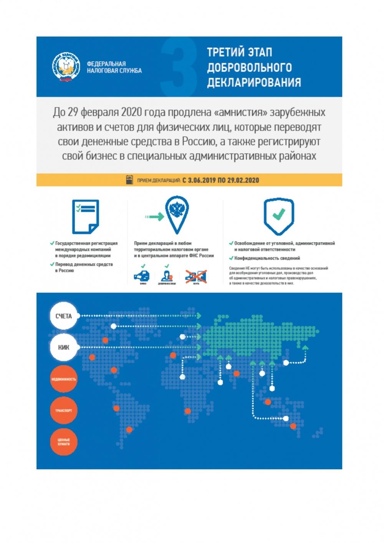 До 29 февраля 2020 года продлена «амнистия» зарубежных активов и счетов для физических лиц, которые переводят свои денежные средства в Россию, а также регистрируют свой бизнес в специальных административных районах.