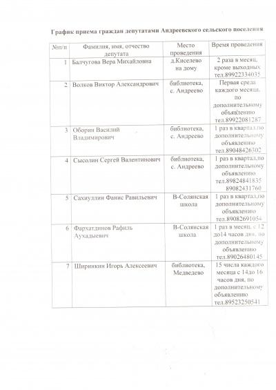 График приема граждан депутатами Андреевского сельского поселения