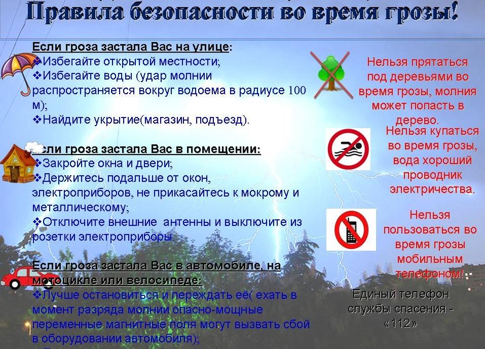 Правила безопасности во время грозы!