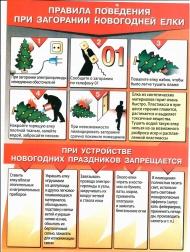 Правила поведения при загорании новогодней ёлки