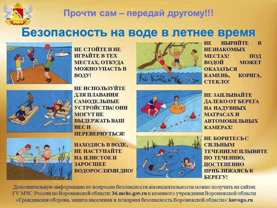 """Памятка """"Безопасность на воде в летнее время"""""""