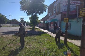 Дворники группы хозяйственного обслуживания и благоустройства продолжают косит траву в городе, а садовники  пропалывают траву на клумбах.