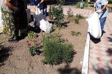 Дворники группы хозяйственного обслуживания и благоустройства продолжают наводить порядок в городе пропалывают траву  на клумбах, собирают мусор  в городском парке,  по ул.Советская.