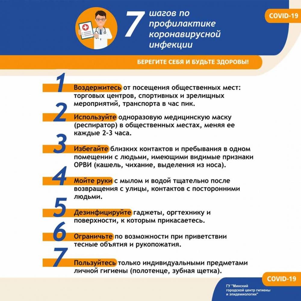 7 шагов по профилактике коронавирусной инфекции