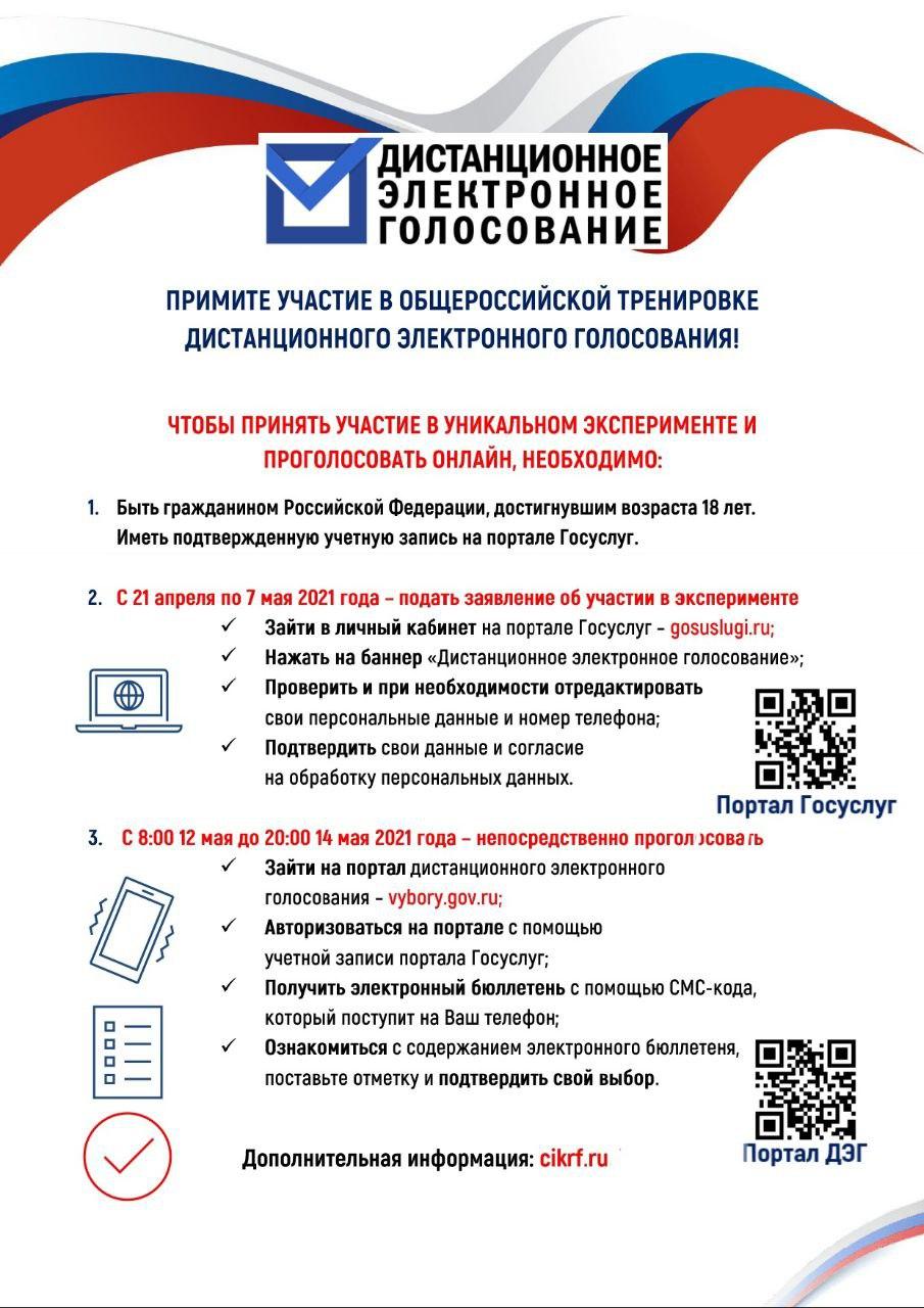 Примите участие в общероссийской тренировке дистанционного электронного голосования