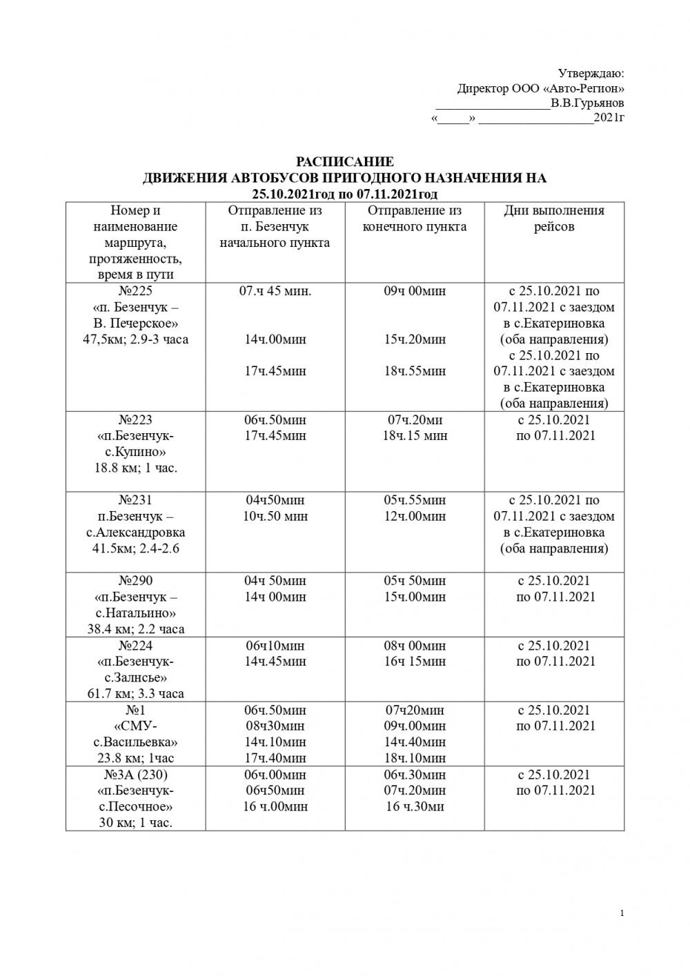 Расписание автобусов с 25 октября по 7 ноября
