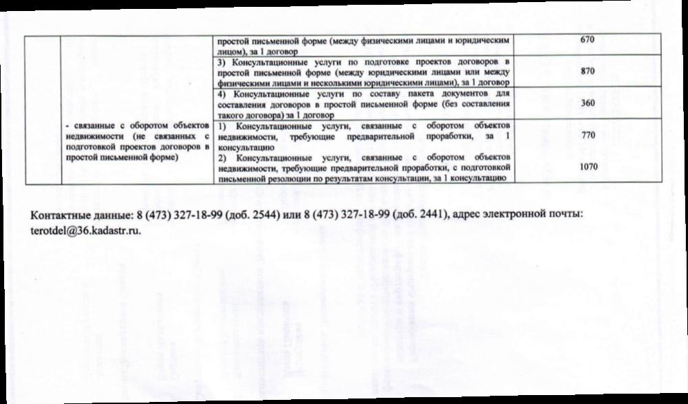 Кадастровая палата Воронежской области предоставляет платные услуги (продолжение)