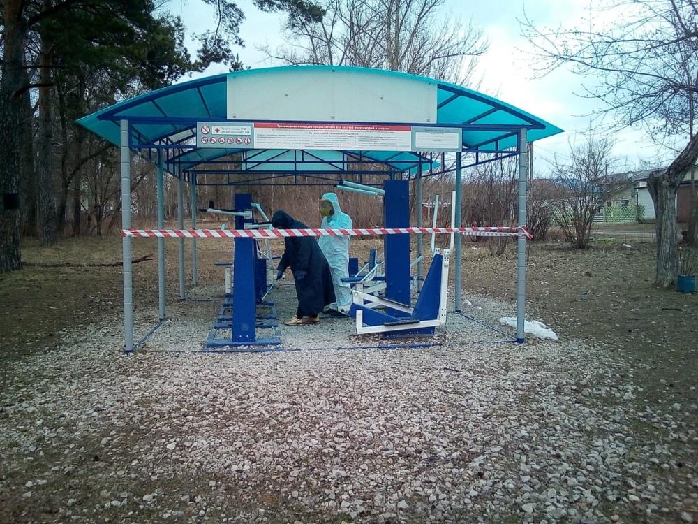 2 апреля в п. Товарково проведена дезинфекция общественных мест