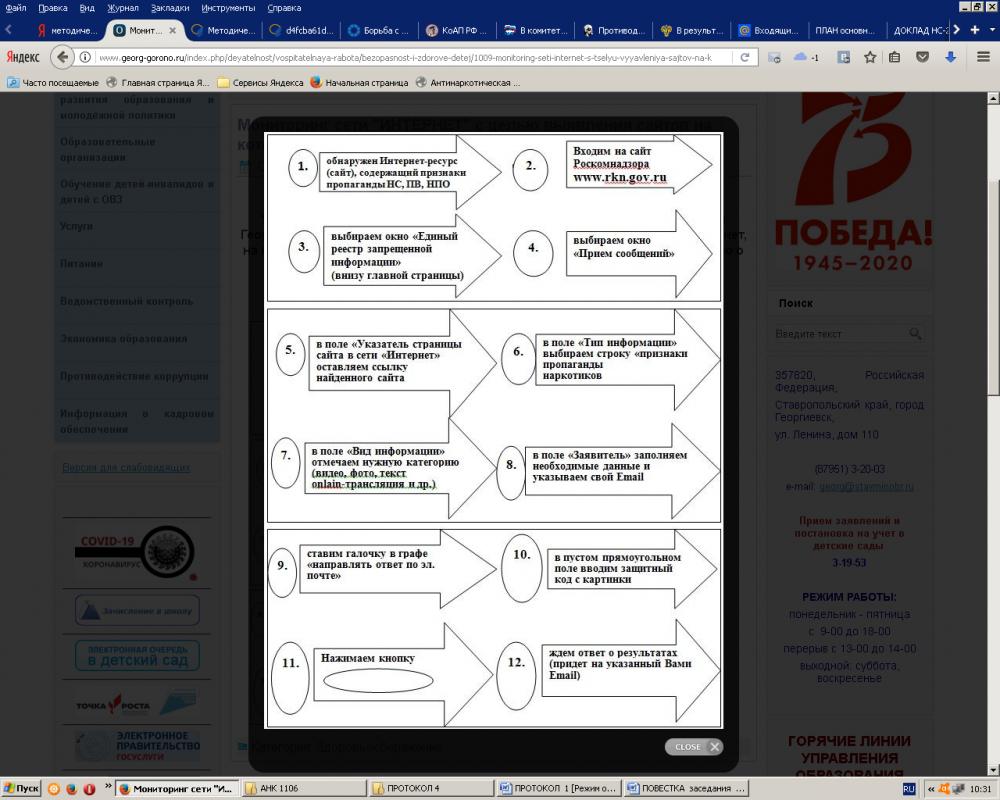 Алгоритм действий граждан по выявлению в информационно-телекоммуникационной сети «Интернет» и последующему блокированию, пронаркотического контента, содержащего информацию, распространение которой запрещено на территории Российской Федерации