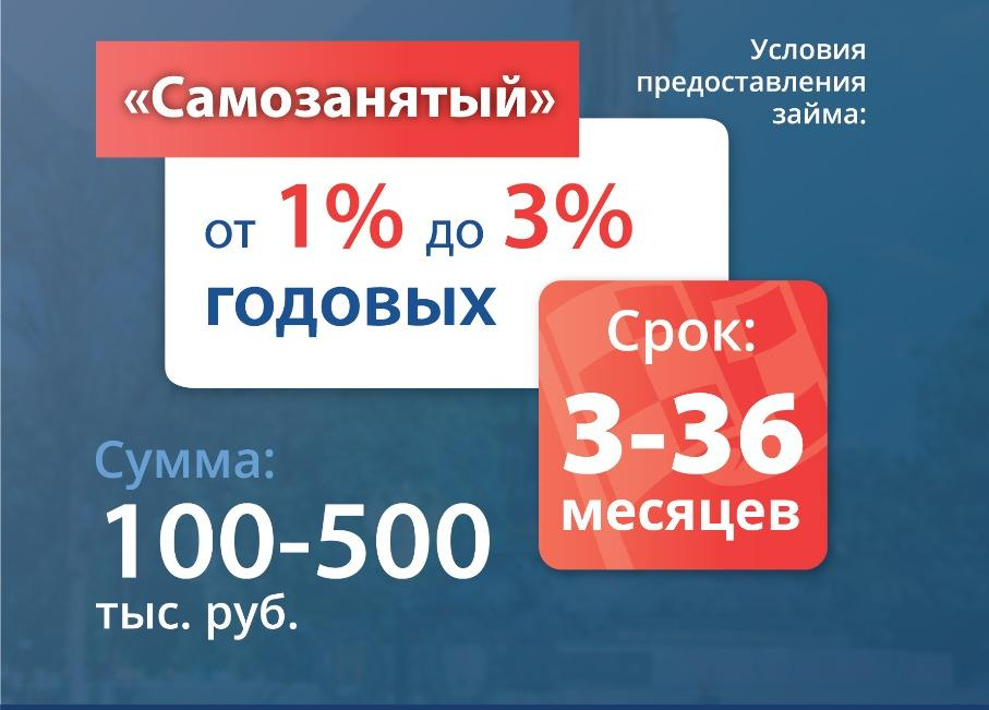 «Самозанятый Старт» под 2% в Фонде микрофинансирования, пока ваша деятельность длится менее 1 года.