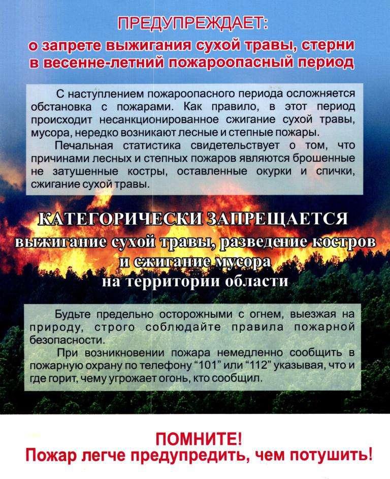 Памятка населению о мерах пожарной безопасности в условиях объявления режима ЧС по Воронежской области