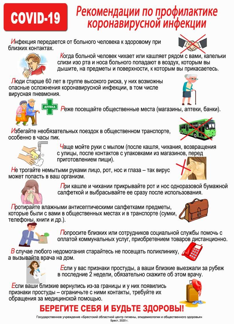 Рекомендации по профилактики новой короновирусной инфекции