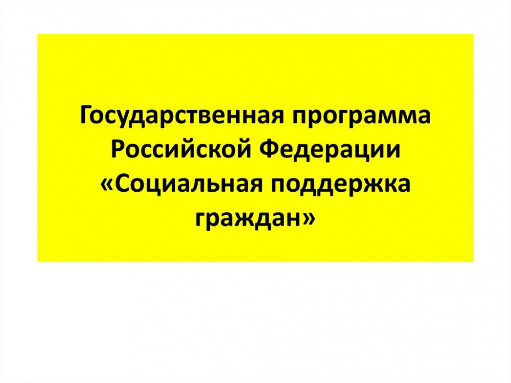 """Государственная программа Российской Федерации """"Социальная поддержка граждан"""""""