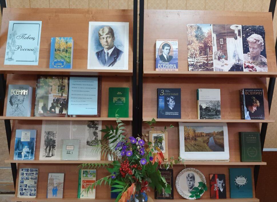 Ко дню рождения Сергея Есенина в Давыдовской поселковой библиотеке развернута книжно-иллюстративная выставка «Певец России».