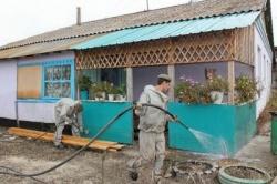 Проведение дезинфекции территорий после паводка