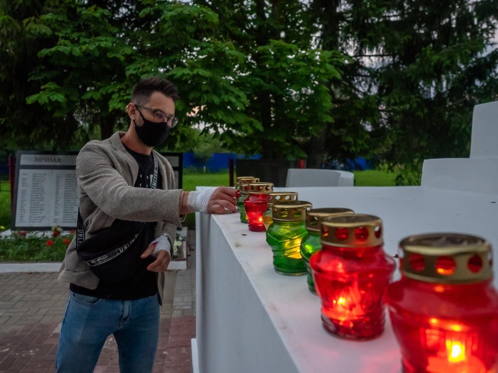 С соблюдением масочного режима в поселке Мятлево отметили День памяти и скорби