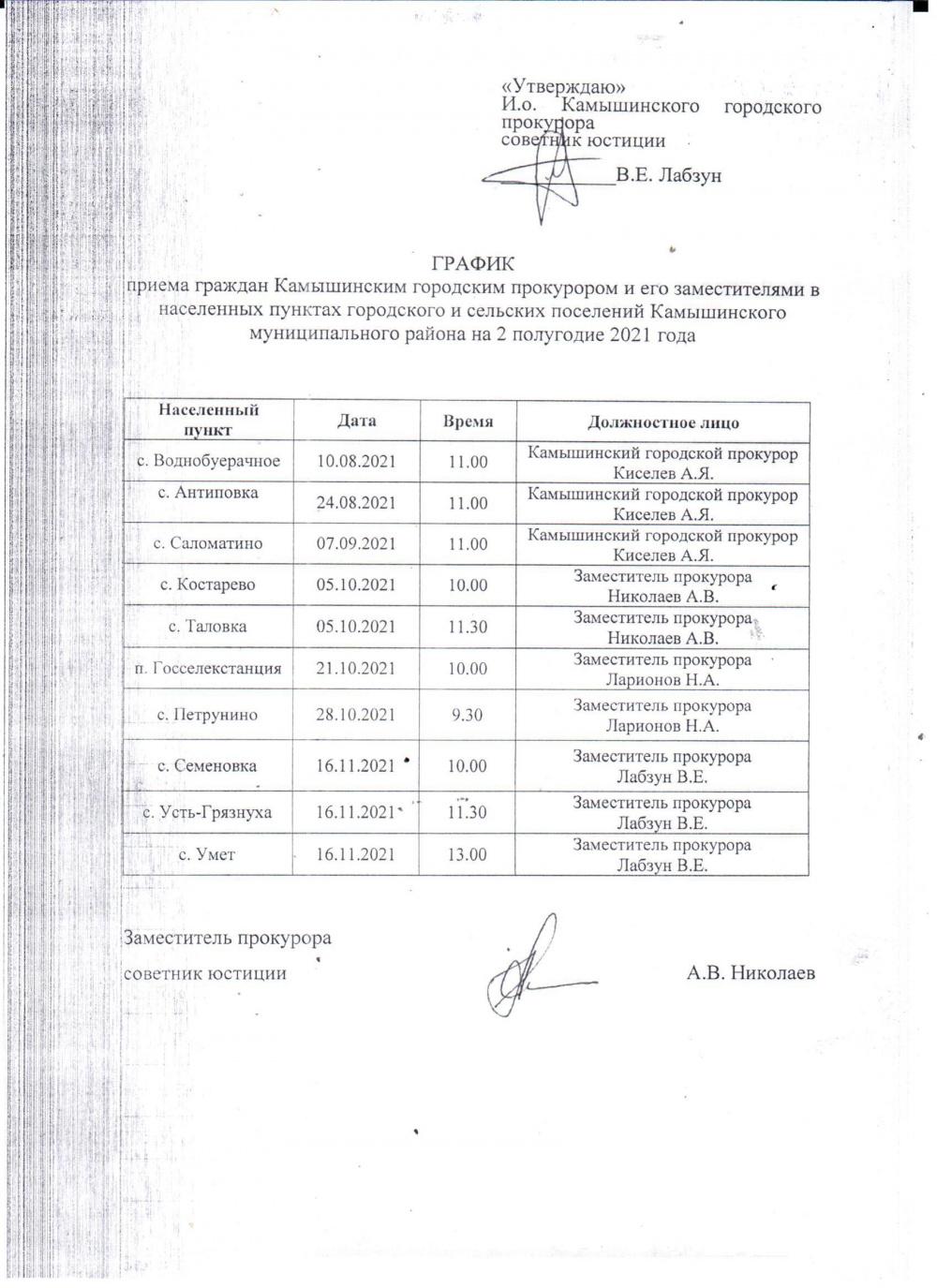 График выездного приема граждан Камышинским городским прокурором и его заместителями в населенных пунктах Камышинского муниципального района на 2 полугодие 2021 года