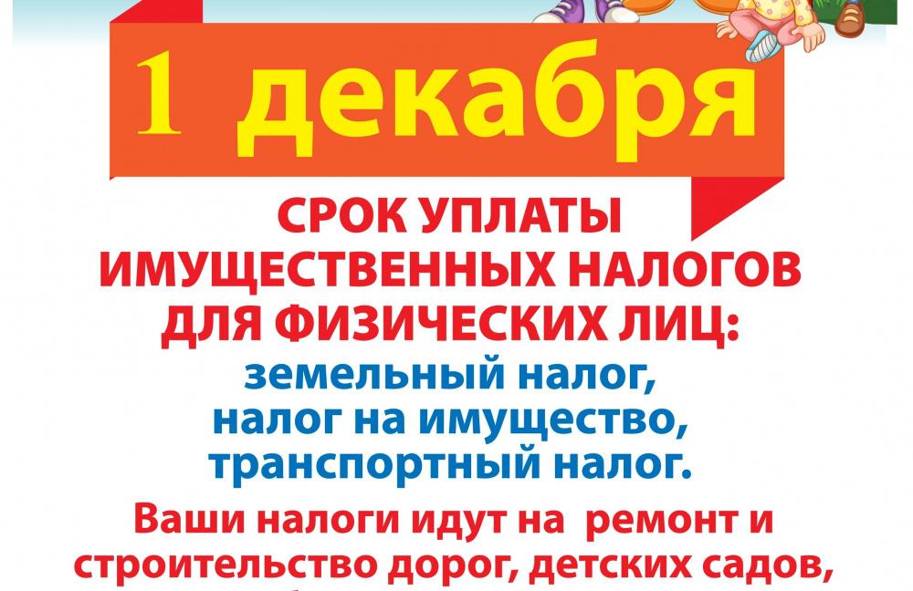 1 декабря срок уплаты имущественных налогов для физических лиц