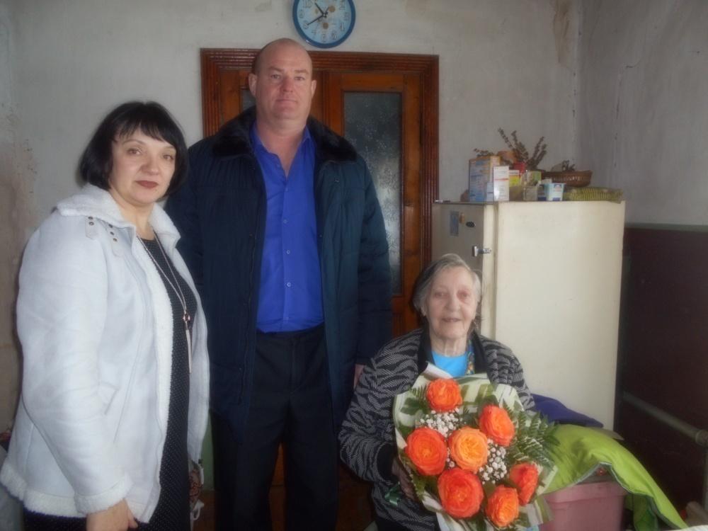 Поздравление с 90-летним юбилеем жительницы с. В-Чуево Агошковой Т.М.