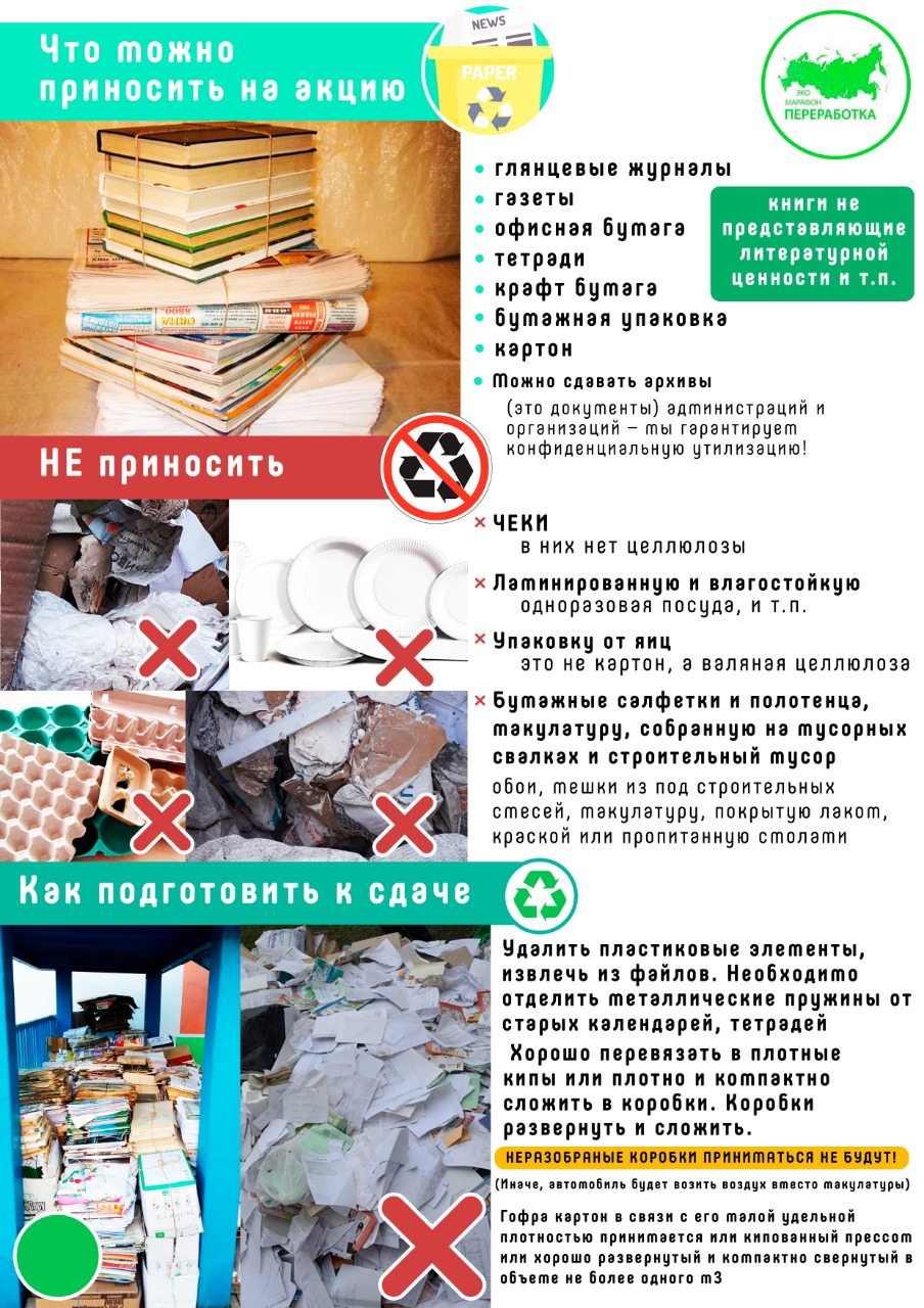 Всероссийский Эко-марафон Переработка  «Сдай макулатуру – спаси дерево!»