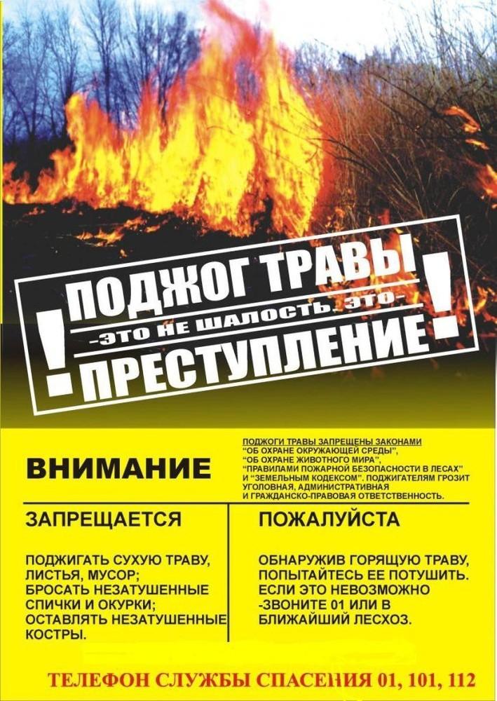 Поджог травы - это преступление!