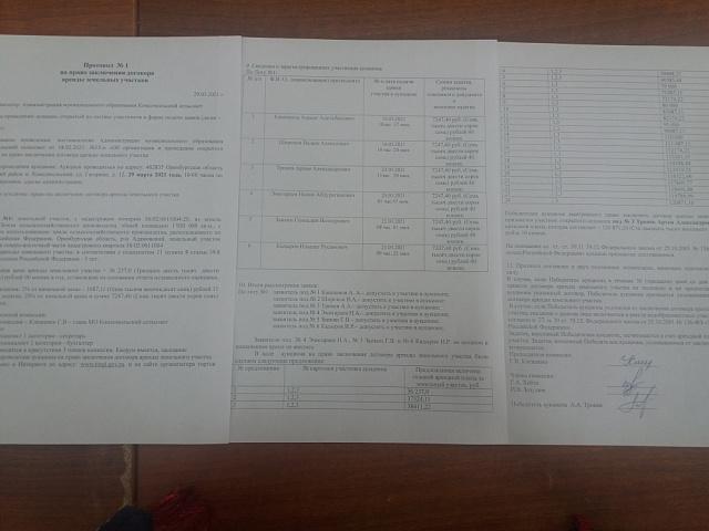 Протокол на право заключения договора аренды земельных участков