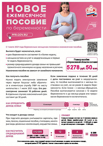 Новое ежемесячное пособие по беременности